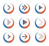Satz farbige Pfeil-Ikonen in den Kreisen Stockfotos