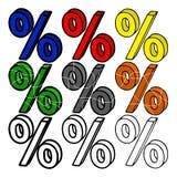 Satz farbige Prozente 3d Stockbilder