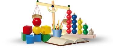 Satz farbige Spielwaren und Lehrmittel getrennte alte Bücher stock abbildung