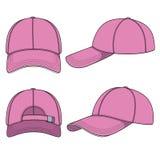 Satz Farbillustrationen mit einer rosa Baseballmütze Lokalisierte Vektorgegenstände Stockfoto