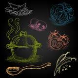 Satz Farbkreide gezeichnet auf ein Tafellebensmittel Stockfoto