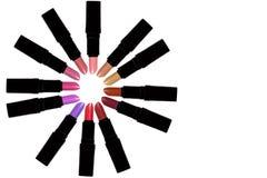Satz Farblippenstifte, die einen Kreis bilden Stockbilder