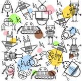 Satz Farbtonkarikaturroboter Stockfotografie