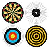 Satz Farbziele für unterschiedlichen Sport schießt, das Bogenschießen und schießt ein Gewehr auf einem weißen Hintergrund Ikonen, lizenzfreie abbildung