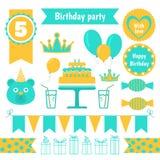 Satz festliche Geburtstagsfeierelemente Flaches Design Stockfotografie
