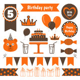Satz festliche Geburtstagsfeierelemente Flaches Design Lizenzfreie Stockbilder