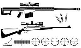 Satz Feuerwaffenscharfschützegewehre und -ziele Stockbild