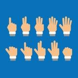 Satz Finger, die Zahlen zeigen Stockbilder
