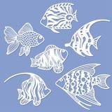 Satz Fische für Laser-Ausschnitt lizenzfreie abbildung