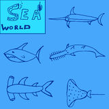 Satz Fische lokalisiert auf weiße Hintergründe Lizenzfreie Stockfotos