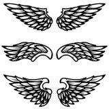 Satz Flügel lokalisiert auf weißem Hintergrund Gestaltungselement für Logo, Aufkleber, Emblem, Zeichen Lizenzfreies Stockbild