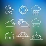 Satz flache Artikonen des Wetters Vektor Stockfoto