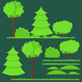 Satz flache Bäume und Stockfotos