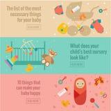 Satz flache Babysorgfaltfahnen Stockfoto