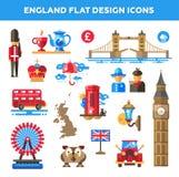 Satz flache Design England-Reiseikonen Lizenzfreies Stockfoto