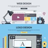 Satz flache Designartfahnen für Grafik und Webdesign Stockfotos