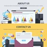 Satz flache Designartfahnen für Webseiten