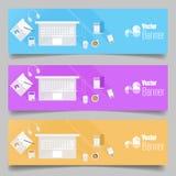 Satz flache Designfahnen Stockfotos