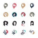 Satz flache Designfrauenavataraikonen und -zeichen für Schönheit, Mode, Kosmetik, Badekurort und Wellness, Gesundheitswesen und N stock abbildung