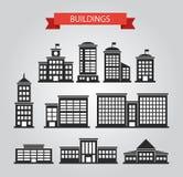 Satz flache Designgebäudepiktogramme Lizenzfreie Stockfotos