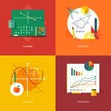 Satz flache Designillustrationskonzepte für Algebra, Geometrie, Kalkül, Statistiken Bildungs- und Wissensideen Lizenzfreies Stockfoto