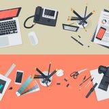 Satz flache Designillustrationskonzepte für kreativen Arbeitsplatz und Geschäftsarbeitsplatz Stockfotos