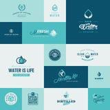 Satz flache Designwasser- und -naturikonen Stockbilder