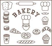 Satz flache Elemente der Bäckerei lokalisiert - Bäckerperson, Chef ` s Hut, Schnurrbart, Brot, Stangenbrot, Laib, Nudelholz, Kuch Stockbild