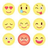 Satz flache Emoticons Satz von Emoji Lokalisierter Vektor Stockbild