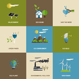 Satz flache entworfene Ökologieikonen Lizenzfreies Stockfoto