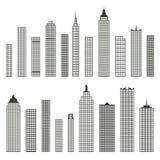 Satz flache Gebäudeikonen des Vektors lokalisiert auf weißem Hintergrund lizenzfreie abbildung