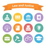 Satz flache Gesetzes- und Gerechtigkeitsikonen Stockfotografie