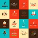 Satz flache Ikonen für Weihnachten und neues Jahr Stockbilder
