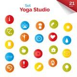 Satz flache Ikonen für Yogaplakat, Yogastandort Vektoryogaikonen Stockfotografie