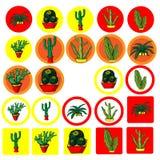 Satz flache Ikonen mit dem Bild des mexikanischen Kaktus Lizenzfreie Stockfotografie