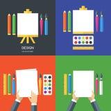 Satz flache Illustrationen des Vektors von Werkzeugen und von Kunstversorgungen Lizenzfreie Stockfotos
