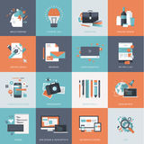 Satz flache Konzept- des Entwurfesikonen für Website und APP-Entwicklung, Grafikdesign, Branding, seo Stockbilder