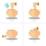 Satz flache Konzept- des Entwurfesikonen mit Sparschwein Lizenzfreies Stockfoto