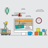 Satz flache Konzepte des Entwurfes des Netzes und der mobilen Websites Stockbild