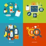Satz flache Konzepte des Entwurfes für medizinische Ikonen für bewegliche apps und Webdesign vektor abbildung
