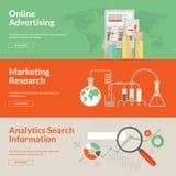 Satz flache Konzepte des Entwurfes für Online-Werbung Lizenzfreie Stockfotos