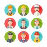 Satz flache Porträtikonen mit Leuten von verschiedenen Berufen Stockfotos