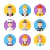 Satz flache Porträtikonen mit Leuten von verschiedenen Berufen Lizenzfreie Stockfotografie