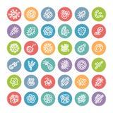 Satz flache runde Ikonen mit Bakterien und Mikroben Lizenzfreie Stockbilder