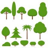 Satz flacher grüner Baum und Büsche Vektor Abbildung