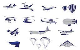 Satz flacher Hubschrauber-und Luft-Transport Stockbild