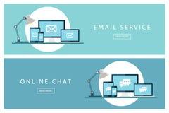 Satz flacher Konzepte des Entwurfes E-Mail-Service und on-line-Chat Fahnen für Webdesign, Marketing und Förderung Lizenzfreie Stockfotos