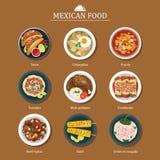 Satz flaches Design des mexikanischen Lebensmittels Lizenzfreies Stockfoto