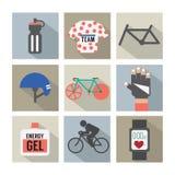 Satz flaches Design-Fahrrad und Zubehör-Ikonen Stockfotografie