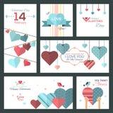 Satz flaches Design glückliche Valentine Day-Grußkarten und -fahnen lizenzfreie abbildung